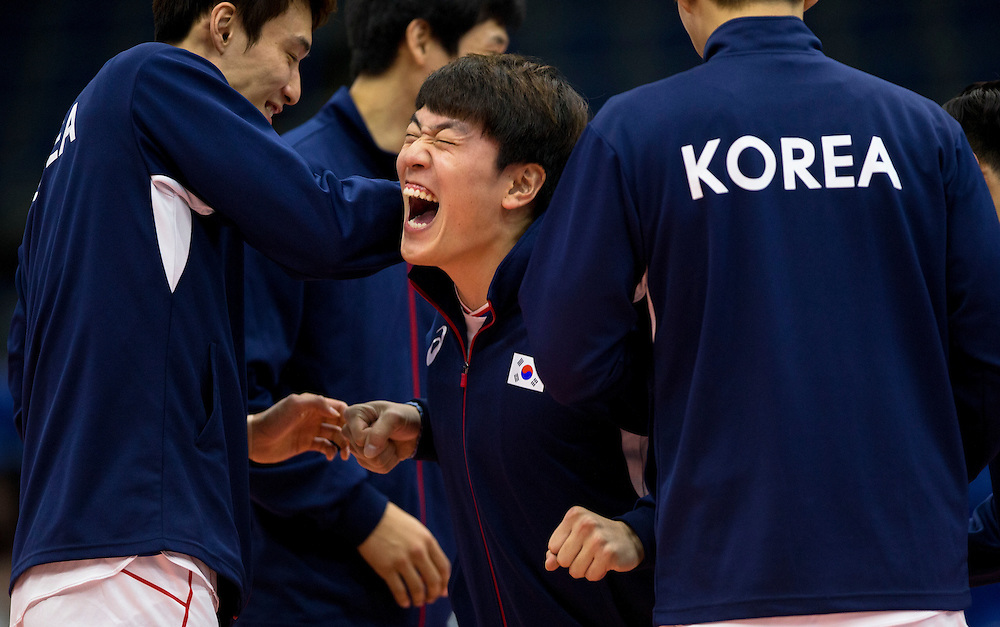 Korea warms up before playing China at a World League Volleyball match at the Sasktel Centre in Saskatoon, Saskatchewan Canada on June 26, 2016.