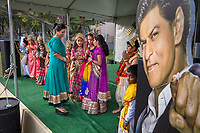 Pleasanton, California: Kids dress as characters from the Ramayana during Diwali celebrations at the Alameda County Fairgrounds.