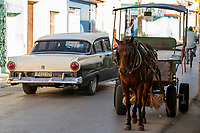 Street scene, classic car, horse and buggy, bicycle, Tridad, Cuba 2020 from Santiago to Havana, and in between.  Santiago, Baracoa, Guantanamo, Holguin, Las Tunas, Camaguey, Santi Spiritus, Trinidad, Santa Clara, Cienfuegos, Matanzas, Havana
