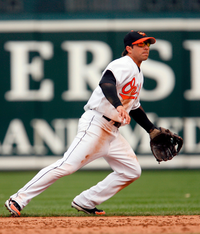 BALTIMORE - APRIL 3: Infielder Brian Roberts #1 of the Baltimore Orioles in the field against Tampa Bay Devil Rays at Oriole Park at Camden Yards on April 3, 2006. The Orioles defeated the Devil Rays 9 to 6   *** Local Caption *** Brian Roberts