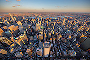 Aerial view of the Midtwon West in New York City, photographed at sunset from a helicopter, showing the New York Times Building.