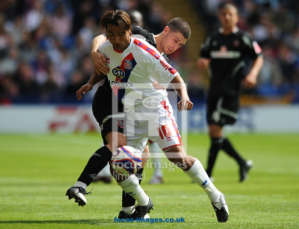 London - Sunday, May 3rd, 2009: Nick Carle of Crystal Palace and Nick Montgomery of Sheffield United during the Coca Cola Championship match at Selhurst Park, London. (Pic by Alex Broadway/Focus Images)