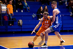 Jure Mocnik of KK Helios Suns during basketball match between KK Helios Suns and KK Rogaska in ABA League Second division, on October 31, 2018 in Sports hall Domzale, Domzale, Slovenia. Photo by Urban Urbanc / Sportida