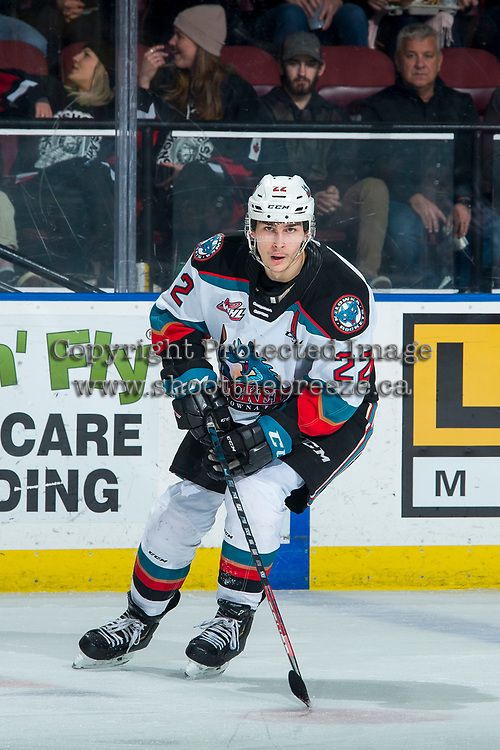 KELOWNA, BC - FEBRUARY 12: Dillon Hamaliuk #22 of the Kelowna Rockets skates against the Tri-City Americans at Prospera Place on February 8, 2020 in Kelowna, Canada. Hamaliuk was seleccted in the 2019 NHL entry draft by the San Jose Sharks. (Photo by Marissa Baecker/Shoot the Breeze)