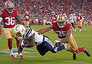 Los Angeles Chargers running back Detrez Newsome (38)  dives during an NFL football game, Thursday, Aug. 29, 2019, in Santa Clara, Calif. (Dylan Stewart/Image of Sport)