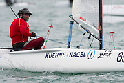 Georg Reuter (GER2), race seven of the A Class World championships regatta being sailed at Takapuna in Auckland. 15/2/2014