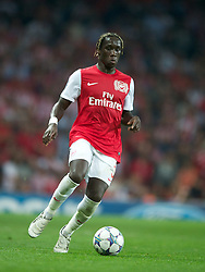 LONDON, ENGLAND - WEDNESDAY, SEPTEMBER 28, 2011: Arsenal's Bacary Sagna in action against Olympiacos during the UEFA Champions League Group F match at the Emirates Stadium. (Photo by Chris Brunskill/Propaganda)