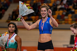 Killiana Heymans second, Femke Pluim first on pole vault during the Dutch Indoor Athletics Championship on February 23, 2020 in Omnisport De Voorwaarts, Apeldoorn