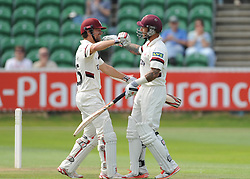 James Hildreth and Peter Trego had a partnership of 221. - Photo mandatory by-line: Alex Davidson/JMP - Mobile: 07966 386802 - 22/08/15 - SPORT - CRICKET - LV County Championship Division One - Day Two - Somerset v Worcestershire - The County Ground, Taunton, England.