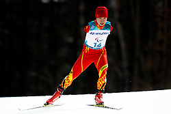 March 12, 2018 - Pyeongchang, South Korea - HAITAO DU of China competes in the men's 20 km standing cross-country skiing during day three of the 2018 Winter Paralympics in Pyeongchang.  (Credit Image: © Vegard Wivestad Grott/Bildbyran via ZUMA Press)