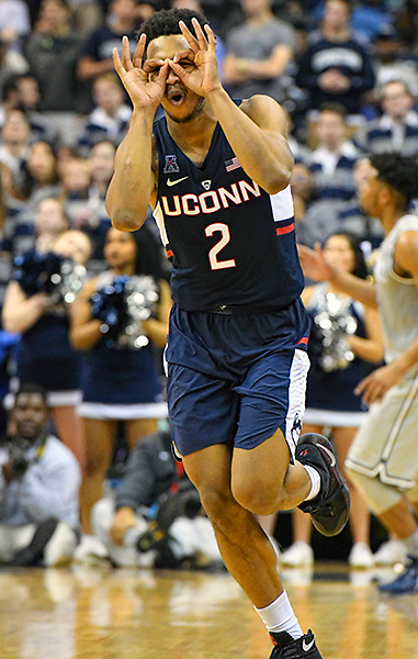 WASHINGTON, DC - JANUARY 14: Connecticut Huskies guard Jalen Adams (2) reacts after sinking a three point basket in the second half against the Georgetown Hoyas on January 14, 2017, at the Verizon Center in Washington, D.C.  The Georgetown Hoyas defeated the Connecticut Huskies, 72-69.  (Photo by Mark Goldman/Icon Sportswire)