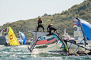 The 2019 49er, 49erFX and Nacra17 European Championships is being sailed off Weymouth and Portland, England from the 13th to 19th May, 2019. Hosted by the Weymouth And Portland National Sailing Academy, more than 400 sailors are racing across the three Olympic classes.<br /> <br /> ©DREW MALCOLM / 2019 VOLVO EUROPEANS<br /> 14th May, 2019.