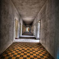 Interior of old tanks barracks somewhere near Berlin with tiled corridor floor