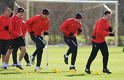 MANCHESTER, ENGLAND - Monday, March 3, 2008: Manchester United's Rio Ferdinand and Wayne Rooney training at Carrington ahead of the UEFA Champions League First knockout round 2nd leg match against Olympique Lyonnais. (Photo by David Rawcliffe/Propaganda)