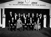 18/01/1989<br /> 01/18/1989<br /> 18 January 1989<br /> Texaco Sportstars of the Year Awards 1988 at the Burlington Hotel, Dublin. Picture shows front row (l-r): Tommy Kinnane (who received up his son Michaels award for Horse Racing); Margaret Johnston (Derry, Bowling); Mr. Vincent O'Brien, Managing Director Texaco (Ireland) Ltd.;  Mr. Ray Burke T.D., Minister for Industry and Commerce and Rebecca Best (Dublin, Squash). Back row (l-r): Packie Bonner (Donegal, Soccer); Sean Kelly (Tipperary, Cycling); Des Smyth (Meath, Golf); Gary O' Toole (Wicklow, Swimming); Tony Keady (Galway Hurling); Robbie O'Malley (Meath, Football); Steve Martin (Down, Hockey) and Paddy Hopkirk (Antrim, Hall of Fame Motor Sport).