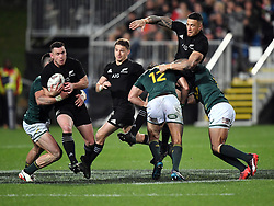 New Zealand's Ryan Crotty, left, makes a break after receiving the ball from Sonny Bill Williams against South Africa in the Investic Championship rugby test match at QBE Stadium, Albany, Auckland New Zealand, Saturday, September 16, 2017. Credit:SNPA / Ross Setford** NO ARCHIVING**