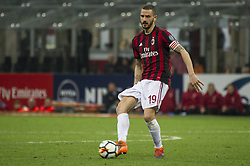 April 8, 2018 - Milan, Milan, Italy - 8th April 2018, San Siro, Milan, Italy; Serie A football, AC Milan versus US Sassuolo; Leonardo Bonucci of AC Milan (Credit Image: © Gaetano Piazzolla/Pacific Press via ZUMA Wire)
