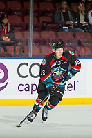 KELOWNA, CANADA - OCTOBER 23: Michael Farren #16 of the Kelowna Rockets skates against the Swift Current Broncos  on October 23, 2018 at Prospera Place in Kelowna, British Columbia, Canada.  (Photo by Marissa Baecker/Shoot the Breeze)