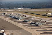 Aerial view of C-17 transport aircraft lined up at Charleston Air Force Base Charleston, South Carolina.