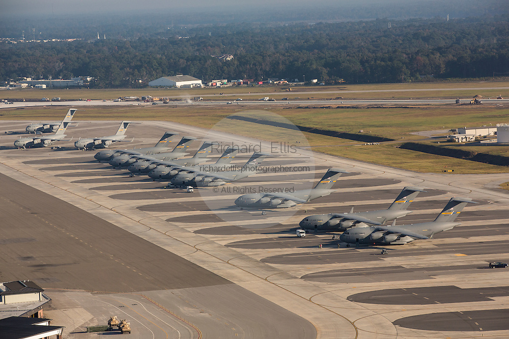 Aerial view of C-17 transport aircraft lined up at Charleston Air Force Base Charleston, South Carolina.