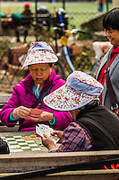 Elderly Chinese playing cards and Chinese chess, Columbus Park, Chinatown, New York, New York USA.