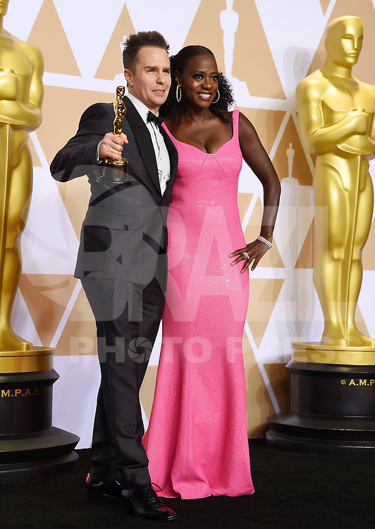 HOLLYWOOD, EUA, 04.03.2018 - OSCAR-CERIMONIA - Sam Rockwell, Viola Davis na sala de imprensa após cerimonia de premiação no 90 edição do Oscar no Hollywood & Highland Center  na California nos Estados Unidos na noite deste domingo, 04. (Foto: Brazil Photo Press)