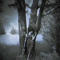 A blue-toned, monochromatic image of a woman in a long dress, standing by a huge tree.