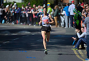 London. United Kingdom. 2014 London Marathon.  Narrow Street Limehouse, East London. Athletics 11:13:54  Sunday  13/04/2014  [Mandatory Credit; Peter SPURRIER/ Intersport Images],
