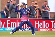 England womens cricket Danielle Wyatt fires the ball into the wk during the ICC Women's World Cup match between England and India at the 3aaa County Ground, Derby, United Kingdom on 24 June 2017. Photo by Simon Davies.