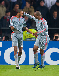 EINDHOVEN, THE NETHERLANDS - Tuesday, December 9, 2008: Liverpool's David Ngog celebrates scoring the third goal against PSV Eindhoven with team-mate Ryan Babel during the final UEFA Champions League Group D match at the Philips Stadium. (Photo by David Rawcliffe/Propaganda)
