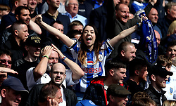 Sheffield Wednesday fans celebrate Sam Winnall of Sheffield Wednesday scoring a goal - Mandatory by-line: Robbie Stephenson/JMP - 01/04/2017 - FOOTBALL - Oakwell Stadium - Barnsley, England - Barnsley v Sheffield Wednesday - Sky Bet Championship