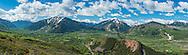 Panoramic view of Aspen, Colorado in June.