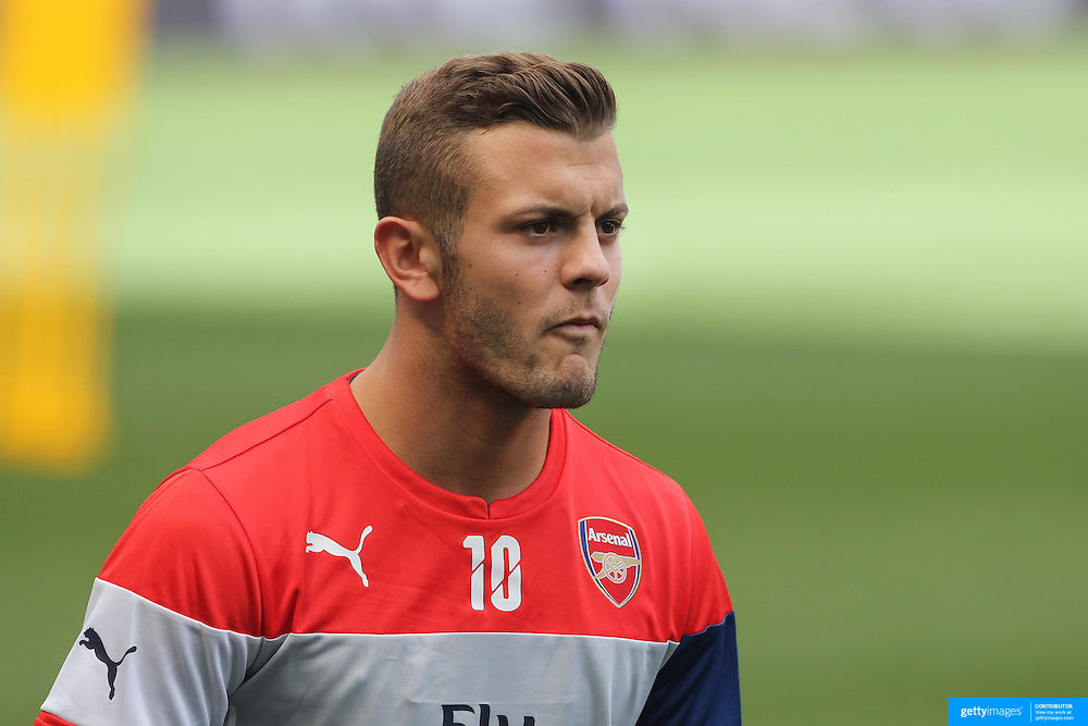 Arsenal player Jack Wilshere during a training session at Red Bull Arena ahead of the friendly match between Arsenal and New York Red Bulls. Red Bull Arena, Harrison, New Jersey. USA. 24th July 2014. Photo Tim Clayton