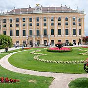 Side gardens of Schonbrunn Palace in Vienna, Austria