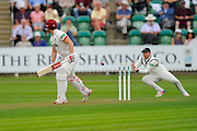 Wicket - James Hildreth of Somerset is caugh behind by Ian Bell of Warwickshire off the bowling of Keith Barker of Warwickshire during the Specsavers County Champ Div 1 match between Somerset County Cricket Club and Warwickshire County Cricket Club at the Cooper Associates County Ground, Taunton, United Kingdom on 6 September 2016. Photo by Graham Hunt.