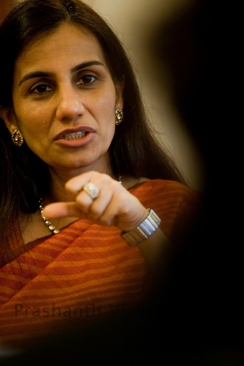 Chanda Kochhar the new chief executive officer and managing director of ICICI Bank Ltd, speaks during an interview in her office in Mumbai, India, on Wednesday April 29, 2009. Photographer: Prashanth Vishwanathan/Bloomberg News