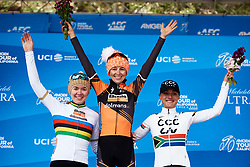 Top three: Katie Hall (USA), Anna van der Breggen (NED) and Ashleigh Moolman Pasio (RSA) at Amgen Tour of California Women's Race empowered with SRAM 2019 - Stage 2, a 74 km road race from Ontario to Mount Baldy, United States on May 17, 2019. Photo by Sean Robinson/velofocus.com