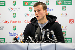 Luke Steele speaks in the pre match press conference ahead of Bristol City's Carabao Cup Quarter Final against Manchester United - Rogan/JMP - 18/12/2017 - Ashton Gate Stadium - Bristol, England - Bristol City v Manchester United - Carabao Cup Quarter Final.