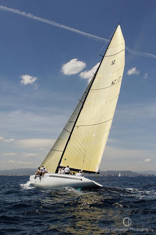 Grand Prix 12 Metre Kiwi Magic KZ7 sailing off Valencia before racing. 14/6/2007