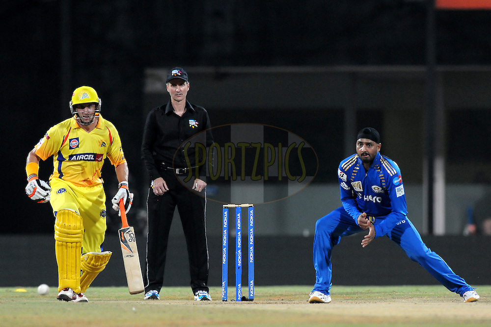 Harbhajan Singh of Mumbai Indians bowls during match 3 of the NOKIA Champions League T20 ( CLT20 )between the Chennai Superkings and the Mumbai Indians held at the M. A. Chidambaram Stadium in Chennai , Tamil Nadu, India on the 24th September 2011..Photo by Pal Pillai/BCCI/SPORTZPICS