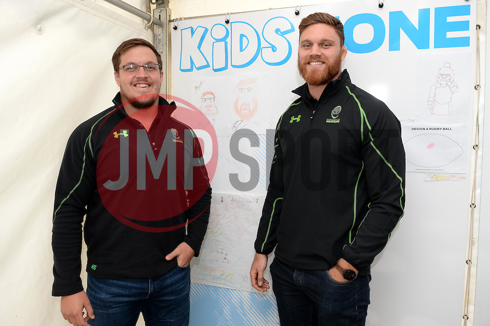 Nick Schonert and Darren Barry pose with their pictures in the Kids Zone - Mandatory by-line: Dougie Allward/JMP - 22/10/2016 - RUGBY - Sixways Stadium - Worcester, England - Worcester Warriors v Brive - European Challenge Cup