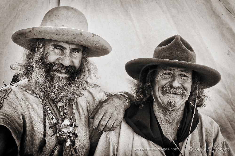 Skinner and Lil Griz cutting up at Historic Fort Bridger's annual Mountain Man Rendezvous.