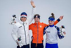 16-02-2018 KOR: Olympic Games day 7, PyeongChang<br /> 5000 meter schaatsen vrouwen / Met een sensationele race heeft Esmee Visser de olympische titel veroverd op de vijf kilometer. Martina Sablikova pakt het zilver en Natalia Voronina (OAR)