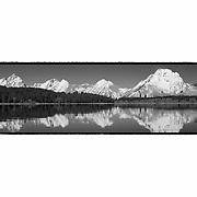Grand Tetons - North Jackson Lake, WY - Panoramic - Black & White - Custom Border