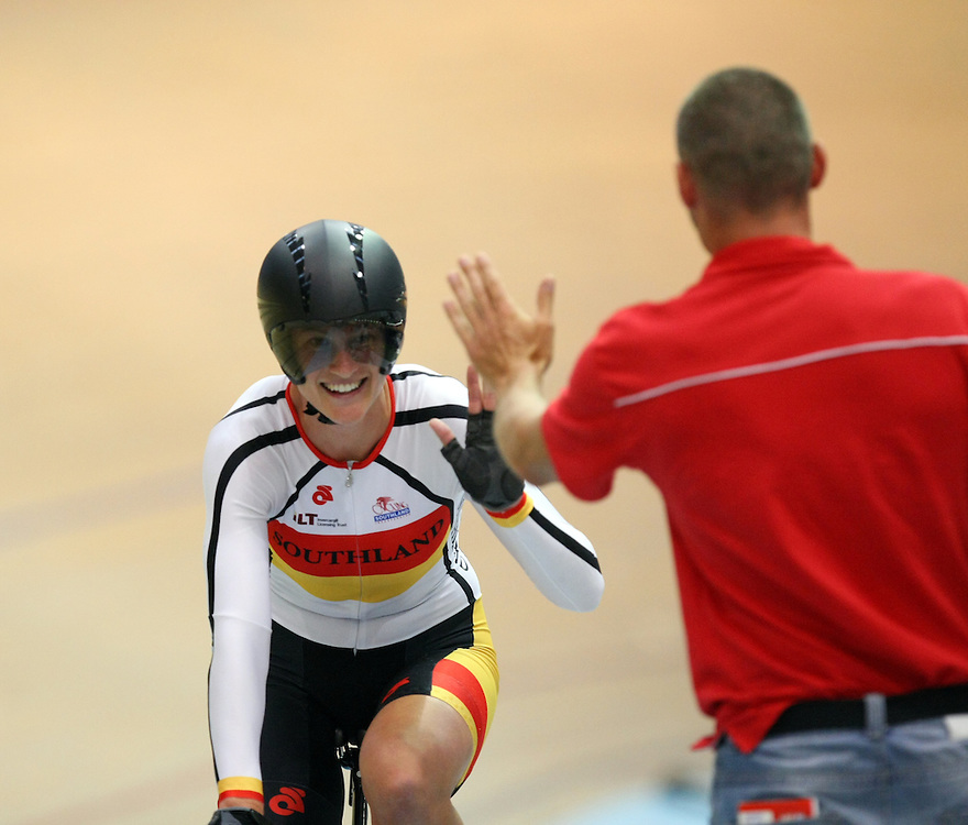 Southland's Laura Fairweather with coach Matt Randall after finishing first in the Elite Women's 3000m Team Pursuit final at the 2013 National Track Cycling Championships, Stadium Southland Velodrome, Invercargill, New Zealand, Sunday, February 03, 2013. Credit:SNPA / Dianne Manson.