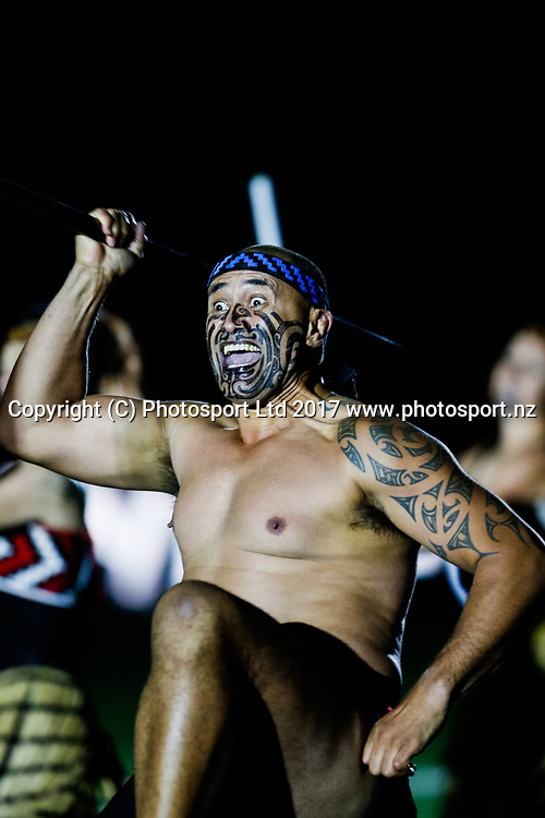 Pre Match Haka performance .Melbourne Storm v Vodafone Warriors, Round 8 of the 2017 NRL Rugby League Premiership season at AAMI Park in Melbourne, Australia. 25 April 2017. Copyright photo: Brendon Ratnayake / www.photosport.nz