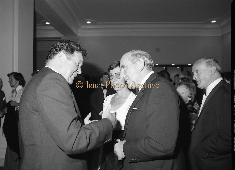 State Opening Of The National Concert Hall. (N92)..1981..09.09.1981..9th September 1981..The President ,Dr Patrick Hillery, officially opened the new National Concert Hall,Earlsfort Terrace, Dublin. The state opening was followed by the premier concert performed by the Radio Telefís Eireann Symphony Orchestra with a large cast of soloists, choirs and the RTESO leader Audrey Park and conducted by RTE's Principal conductor Colman Pearce...Image shows that Mr Fred O'Donovan (left), Chairman, National Concert Hall Committee, was on hand to greet the invited dignitaries to the Grand Opening.