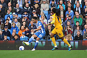 Brighton & Hove Albion defender Liam Rosenior (23) makes a short pass watched by Preston North End midfielder Daniel Johnson (11) during the Sky Bet Championship match between Brighton and Hove Albion and Preston North End at the American Express Community Stadium, Brighton and Hove, England on 24 October 2015. Photo by Geoff Penn.