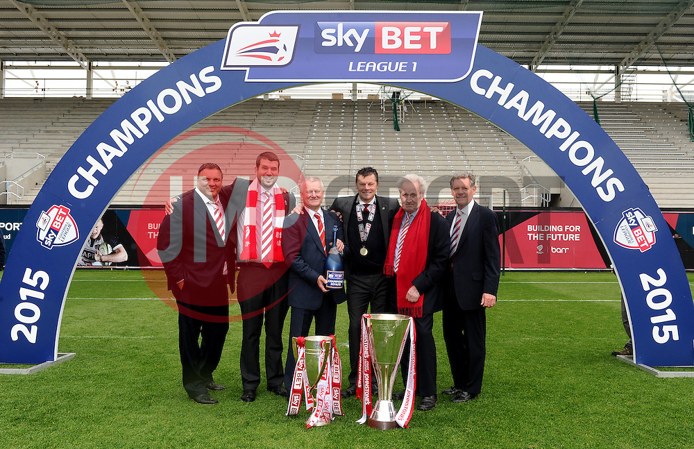Bristol City Directors, Bristol City's majority shareholder, Steve Lansdown Bristol City manager, Steve Cotterill are pictured with with the Sky Bet League one Trophy and the JPT Trophy - Photo mandatory by-line: Joe Meredith/JMP - Mobile: 07966 386802 - 03/05/2015 - SPORT - Football - Bristol - Ashton Gate - Bristol City v Walsall - Sky Bet League One