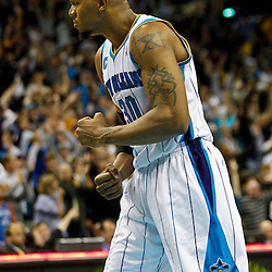 January 24,  2011; New Orleans, LA, USA; New Orleans Hornets power forward David West (30) celebrates after scoring the game winning basket against the Oklahoma City Thunder during the fourth quarter at the New Orleans Arena. The Hornets defeated the Thunder 91-89. Mandatory Credit: Derick E. Hingle